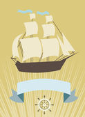 Sailboat with banner for your message — Stock Vector