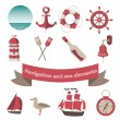 Stock Vector: Navigation and seicons and elements with anchor, ships,