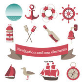 Navigation and sea icons and elements with an anchor, the ships, — Stock Vector