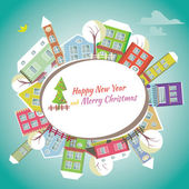 Happy New Year greeting card - Home background — Stock Vector