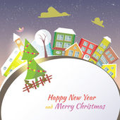 Happy New Year greeting card - snowy street. — Stock Vector