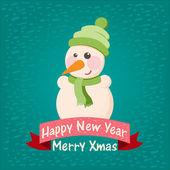 новогодний фон и открытка со снеговиком — Cтоковый вектор