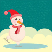 Snowman in a hat and ice skating — Stock Photo