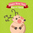 Cute Christmas reindeer card — Stock Vector