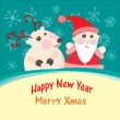 Christmas and New Year Greeting card, Santa Claus with  Deer — Stock Vector