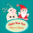 Christmas and New Year Greeting card, Santa Claus with Deer — Stock Vector #32643337