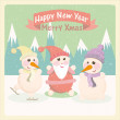 Vintage vector illustration of a snowman and Santa Claus among the mountains — Image vectorielle