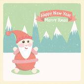 Vintage vektor-illustration der weihnachtsmann schneebedeckten berge — Stockvektor