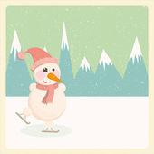 иллюстрация снеговика в горах — Стоковое фото