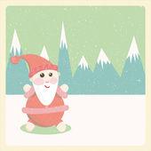Illustration of santa claus snow-capped mountains — Stock Photo