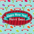 New Year and Christmas greeting card — Image vectorielle