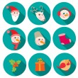 New Year and Christmas flat icons set — Stock Vector