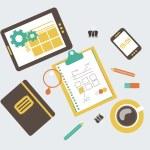 Flat modern illustration, web design development workflow — Stock Photo