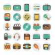 Multimedia flat icons set — Stock Vector
