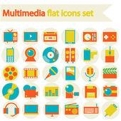 Multimedia flat icons set — Stock Vector