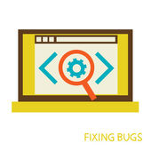 Process of fixing bugs — Stockvector