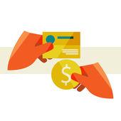 Mão segurando um cartão e uma moeda — Vetor de Stock