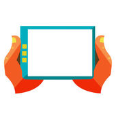 Hand touch screen on digital tablet — Stock Vector