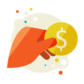 Man's hand holding a coin — Stock Vector