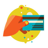 Hand holding credit card — Stock Vector