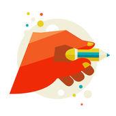 Main tenant un crayon — Vecteur