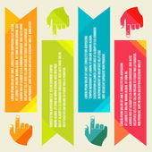 Banners for information pointing hand — Vecteur