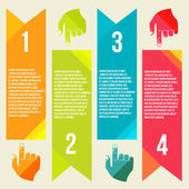 Banners for information pointing hand — Stockvektor