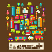 Set of city infographics in a flat style — 图库矢量图片
