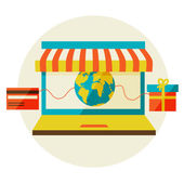 Online shopping. Sale, Laptop and smart phone with awning. — Vector de stock
