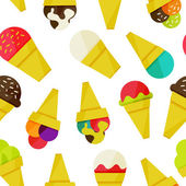 Seamless background with ice-cream vector illustration — Stockvektor