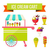 Ice cream cart — Stock Vector