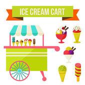 Ice cream cart — Stock Vector