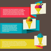 Decorative ice cream paper banners set — Stock Vector