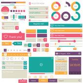 Flat elements design, ui set. Vector — Stock Vector