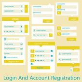 User interface login and account registration — Stock Vector