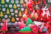 Christmas tree and cookies — Stock Photo