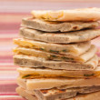 Mix of different indian breads - naan — Stock Photo