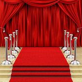 銀の支柱とレッド カーペット — ストック写真