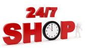24/7 shop sign — Stock Photo