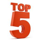 Top 5 en blanco — Foto de Stock