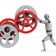 Stock Photo: Robot operating gears