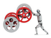 Robot operating gears — Stock Photo