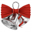silver bells with red bow — Stock Photo
