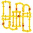 Yellow pipes with valves — Stock Photo #34571561