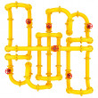 Yellow pipes with valves — Stock Photo