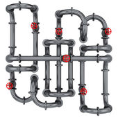 Pipes with red valves — Stockfoto