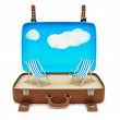 Suitcase with 2 deckchairs — Stock Photo #42195313