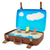 Suitcase with a beach — Stock Photo