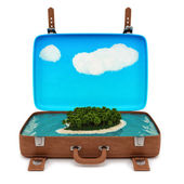 Suitcase with an island — Stock Photo