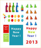 Vector set of new year thinks — Stock Vector